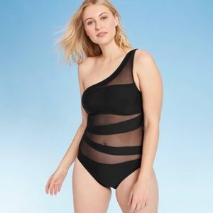 Shade & Shore One Shoulder Mesh Inset Swimsuit